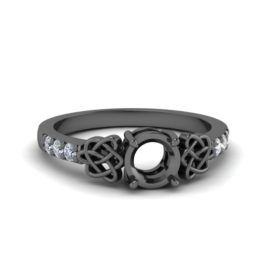 Black Gold Celtic Round Ring Setting