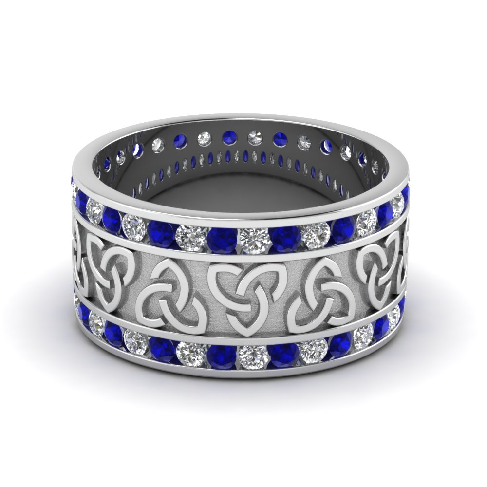 Celtic Wedding Bands White Diamond With Blue Sapphire In 14K White