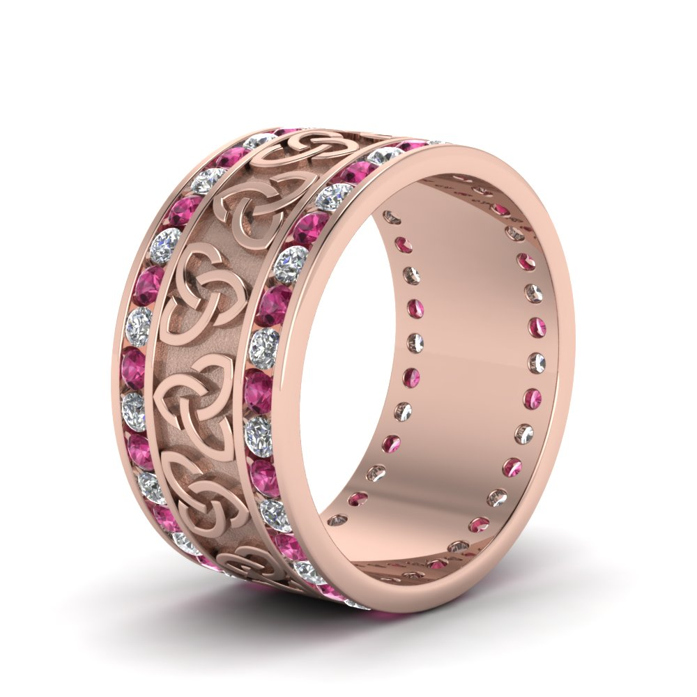 Pink Sapphire Celtic Knot Diamond Wedding Band In 14K Rose Gold ...