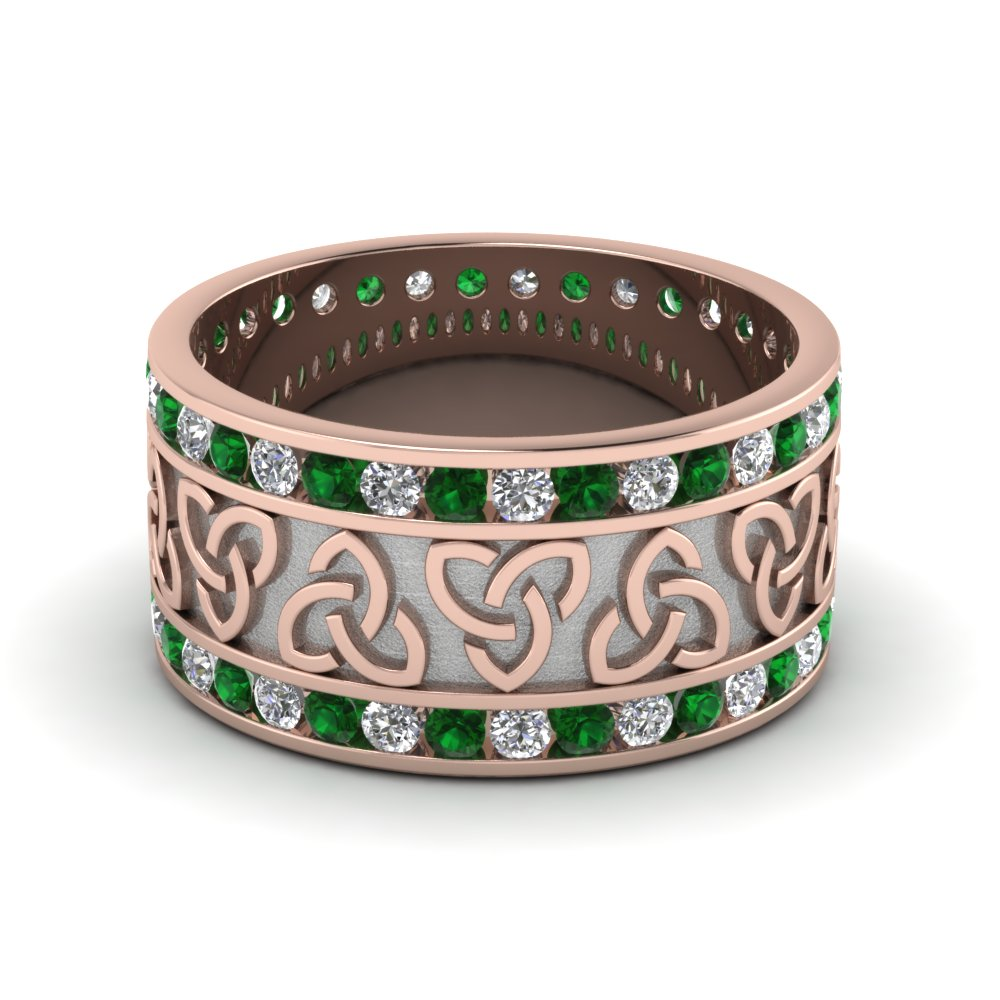 Emerald Celtic Knot Diamond Wedding Band In FDDB1337BGEMGR NL RG