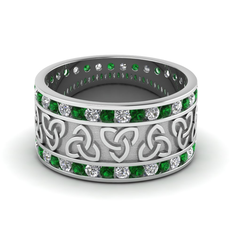 Emerald Celtic Knot Diamond Wedding Band In FDDB1337BGEMGR NL WG