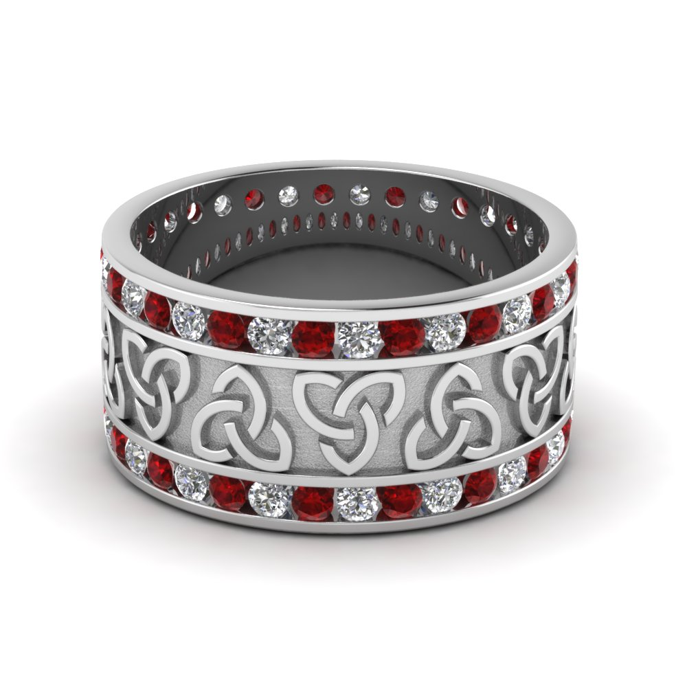 ruby celtic knot diamond wedding band in FDDB1337BGRUDR NL WG