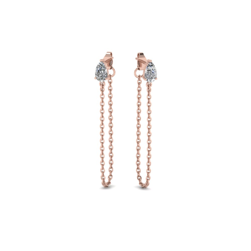 Chain Diamond Stud Earring In Fdear8201angle1 Nl Rg
