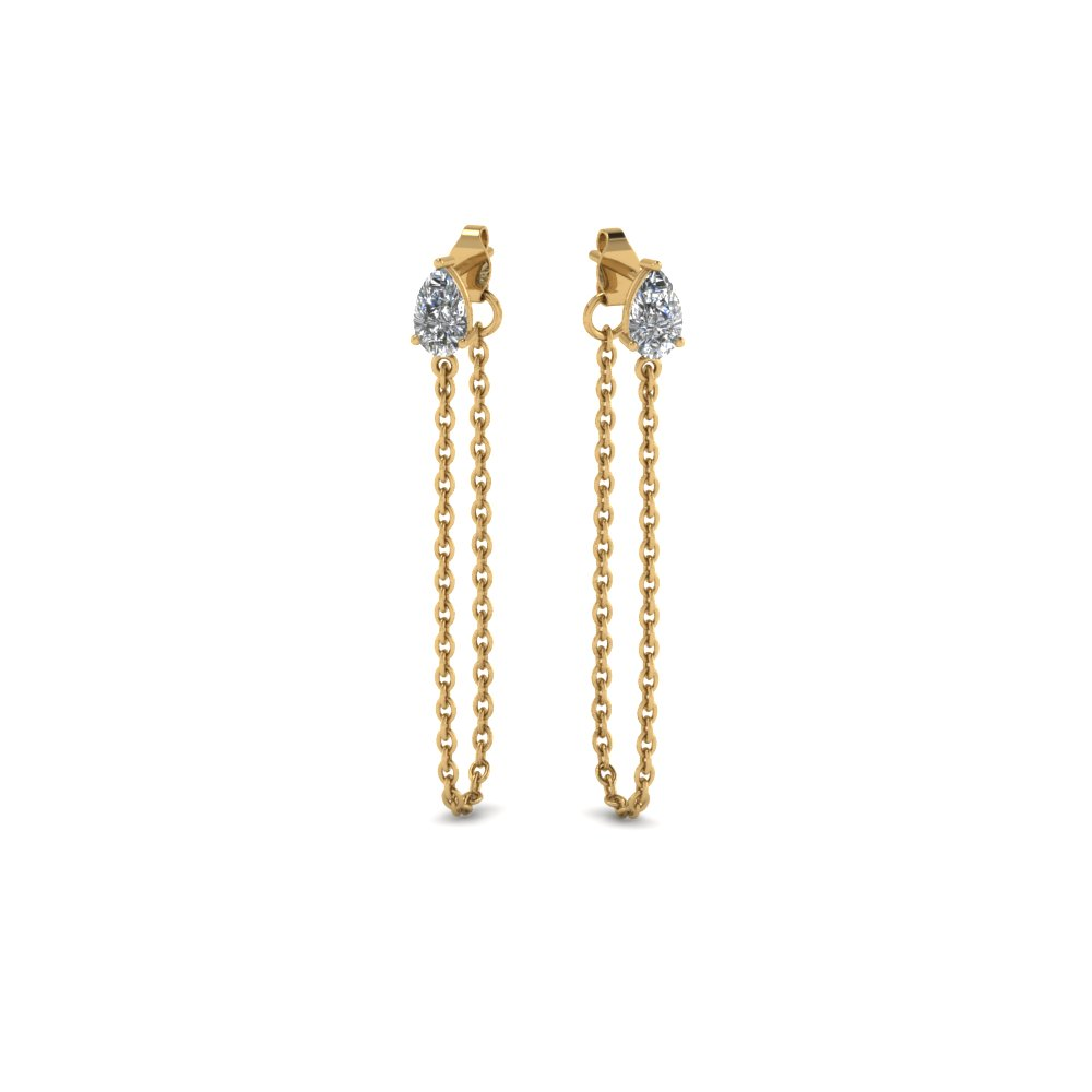 Chain Pear Diamond Earring