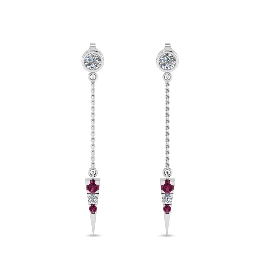 Pink Sapphire Drop Dangle Earring
