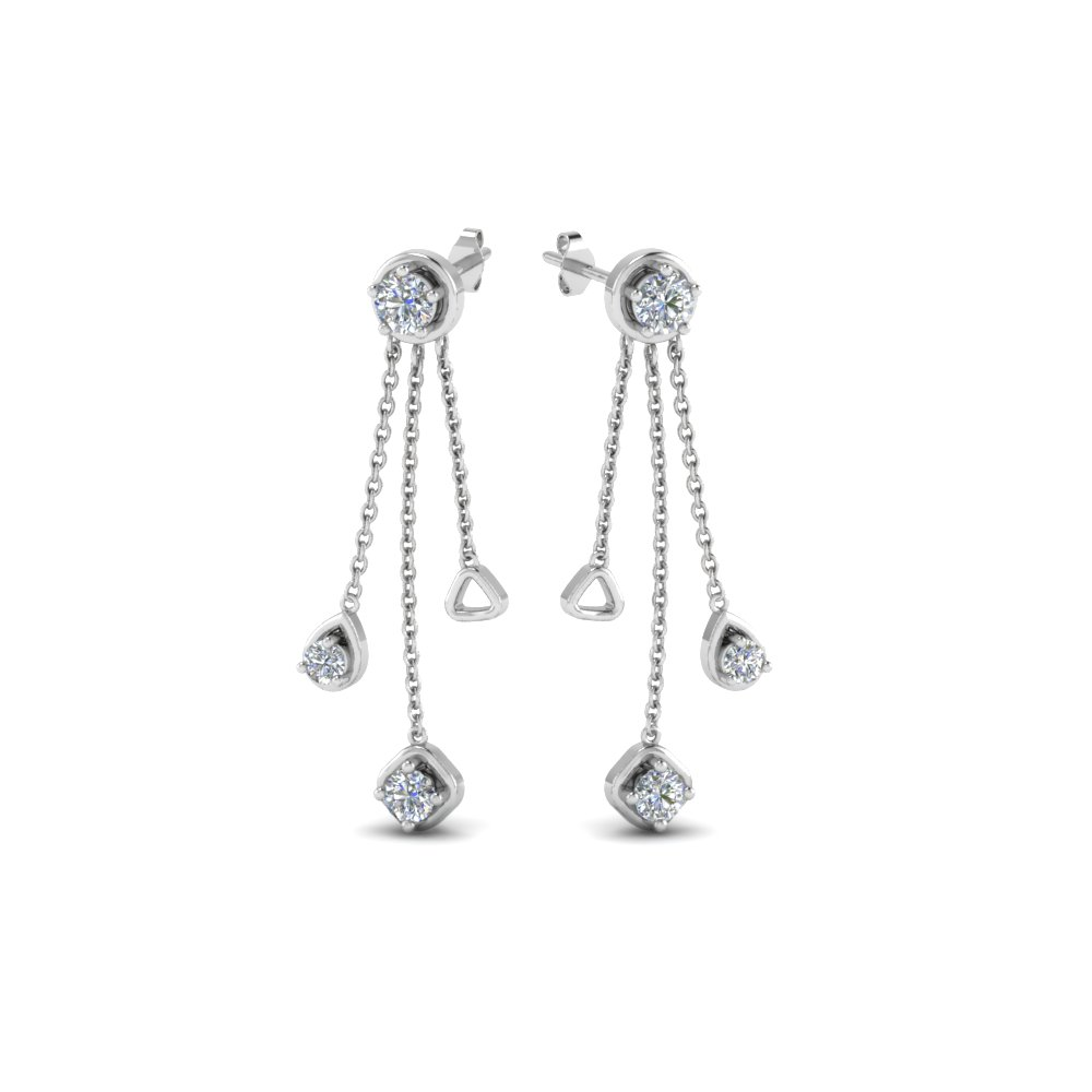 chain drop diamond earring in 14K white gold FDCMJ28251EANGLE1 NL WG