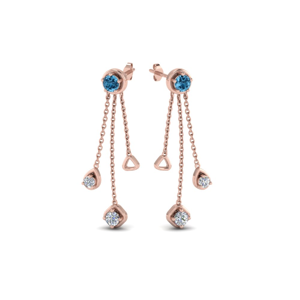 chain drop diamond earring with blue topaz in 14K rose gold FDCMJ28251EGICBLTOANGLE1 NL RG