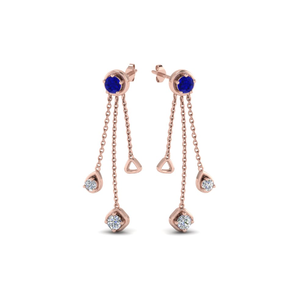 chain drop diamond earring with sapphire in 14K rose gold FDCMJ28251EGSABLANGLE1 NL RG