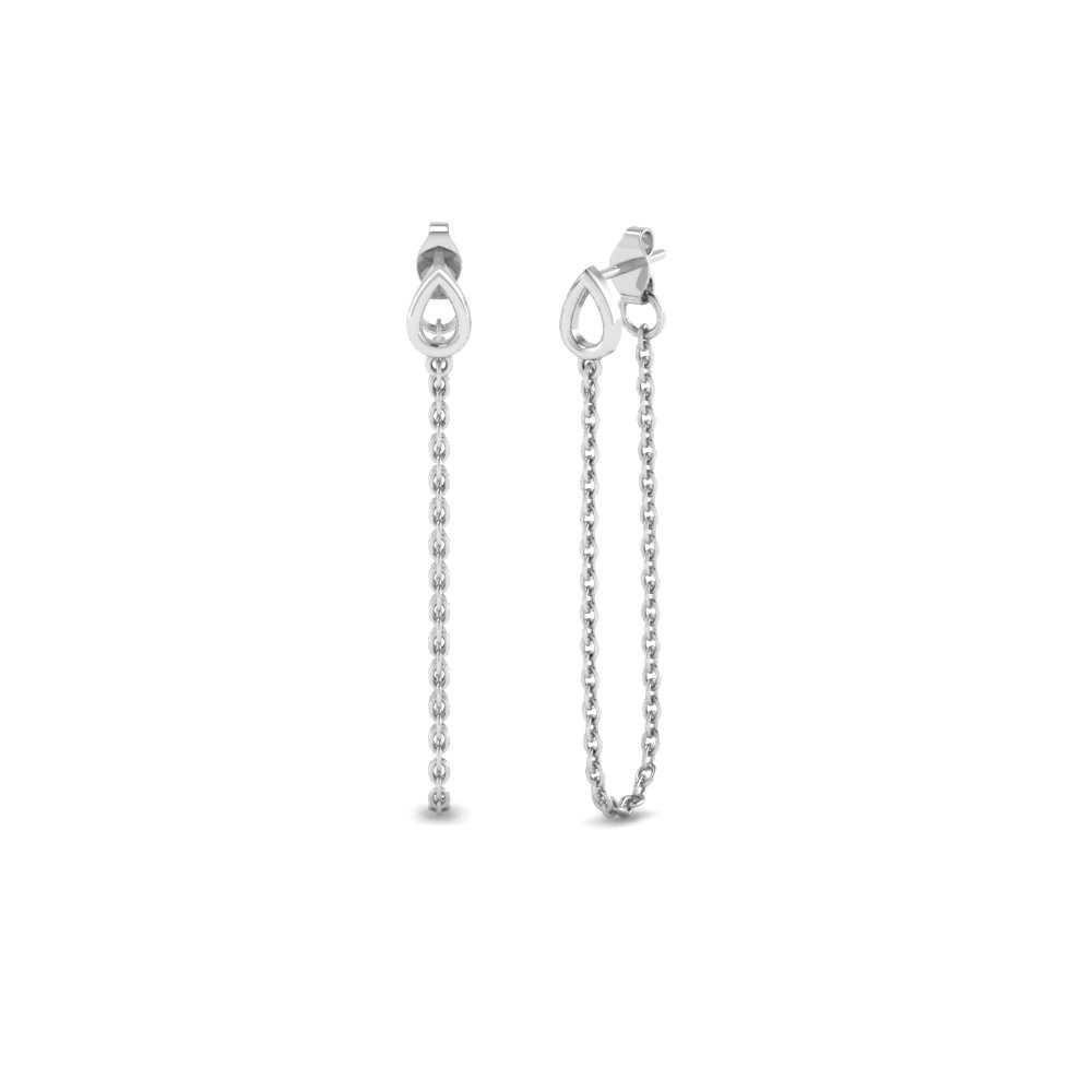 Beautiful White Gold Chain Drop Earrings