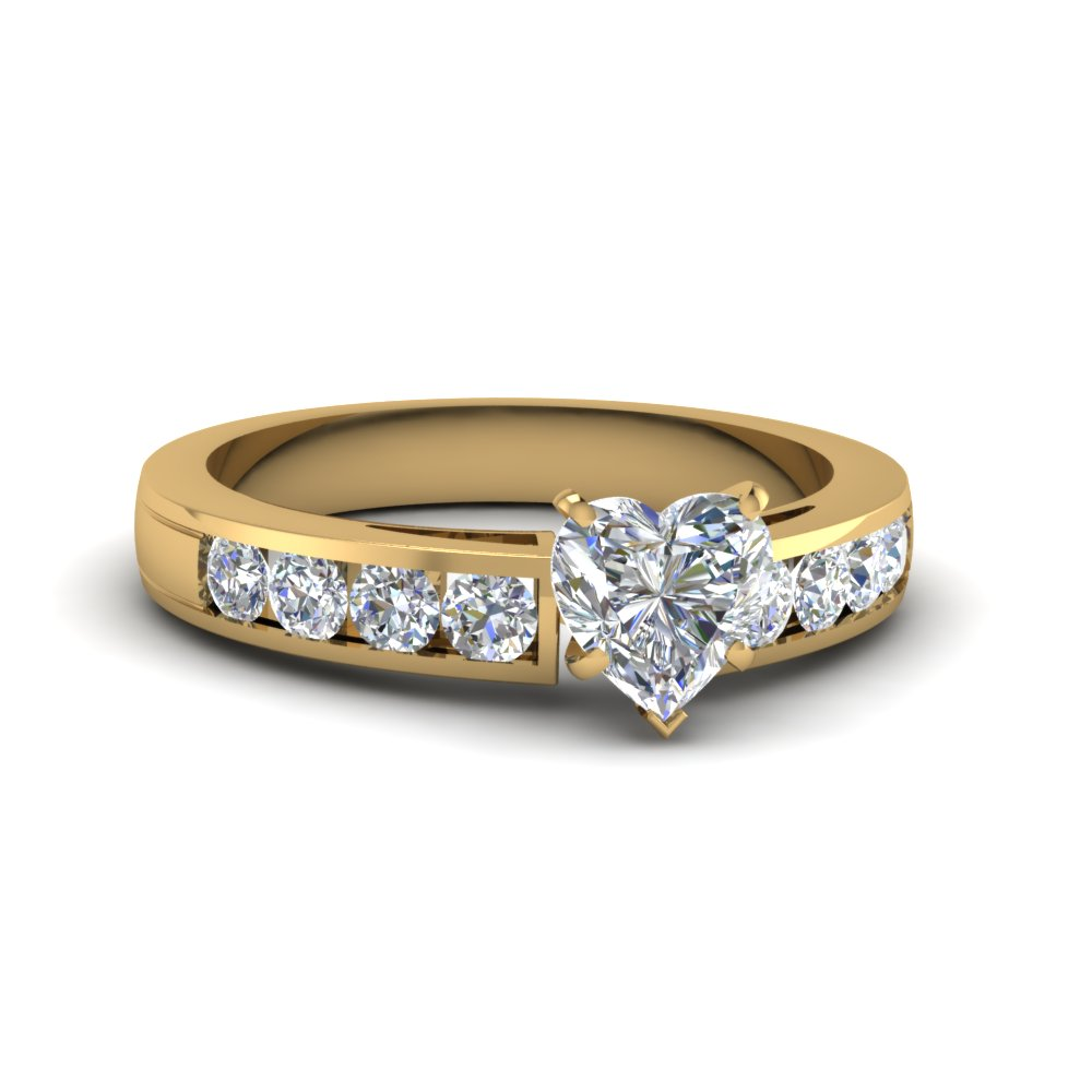 channel accent 1.25 carat heart diamond ring in 14K yellow gold FDENS252HTR NL YG