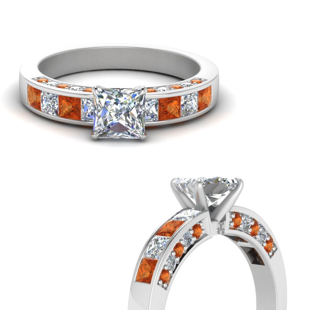 channel and pave set 1.50 ct. diamond engagement ring with orange sapphire in FDENS198PRRGSAORANGLE3 NL WG.jpg