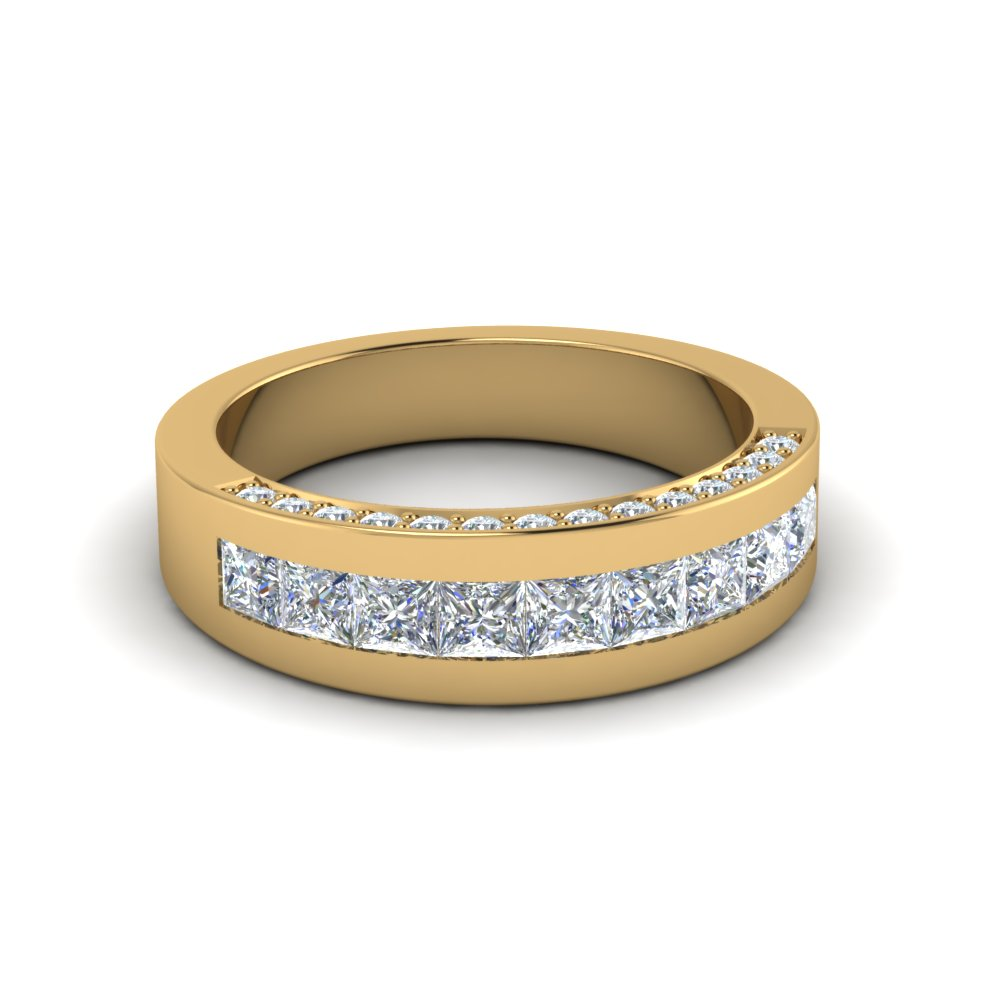 Channel And Pave Set Custom Wedding Diamond Band In 14K Yellow Gold