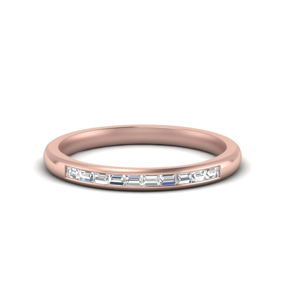 channel baguette diamond promise ring in 14K rose gold FD8383B NL RG