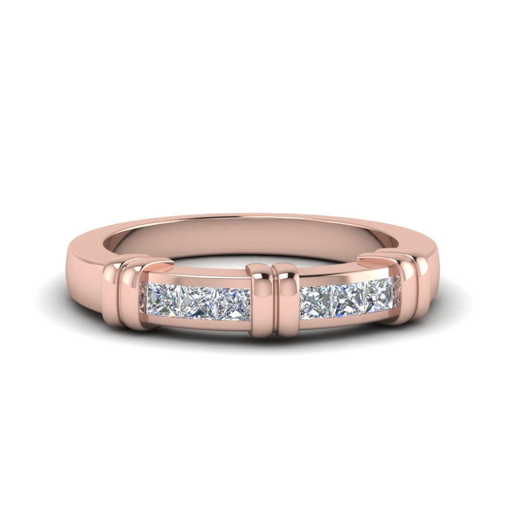 Channel Bar Princess Cut Wedding Band