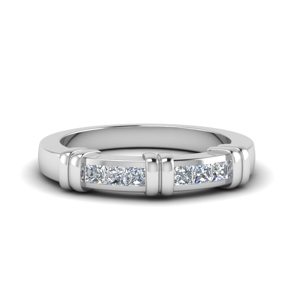 Channel Princess Cut Wedding Band