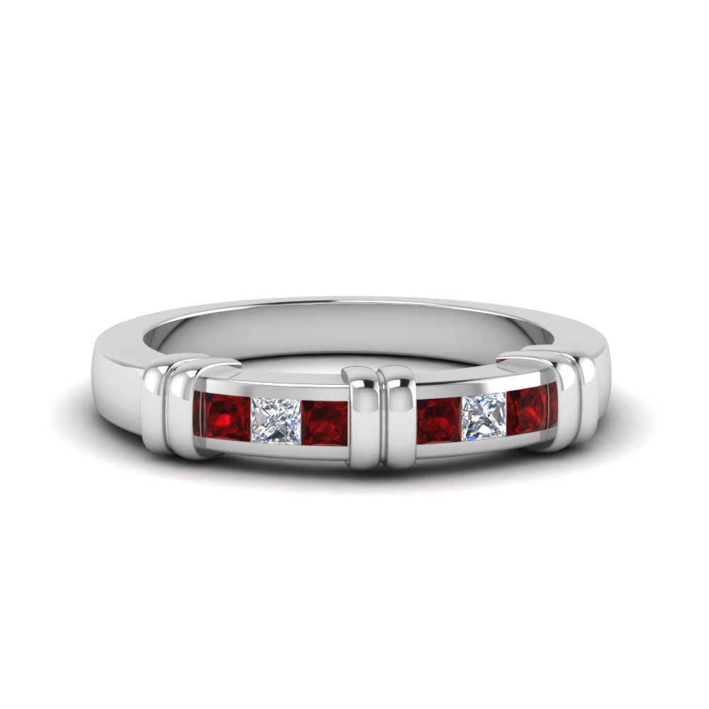 0.50 Ct. Princess Cut Band With Ruby