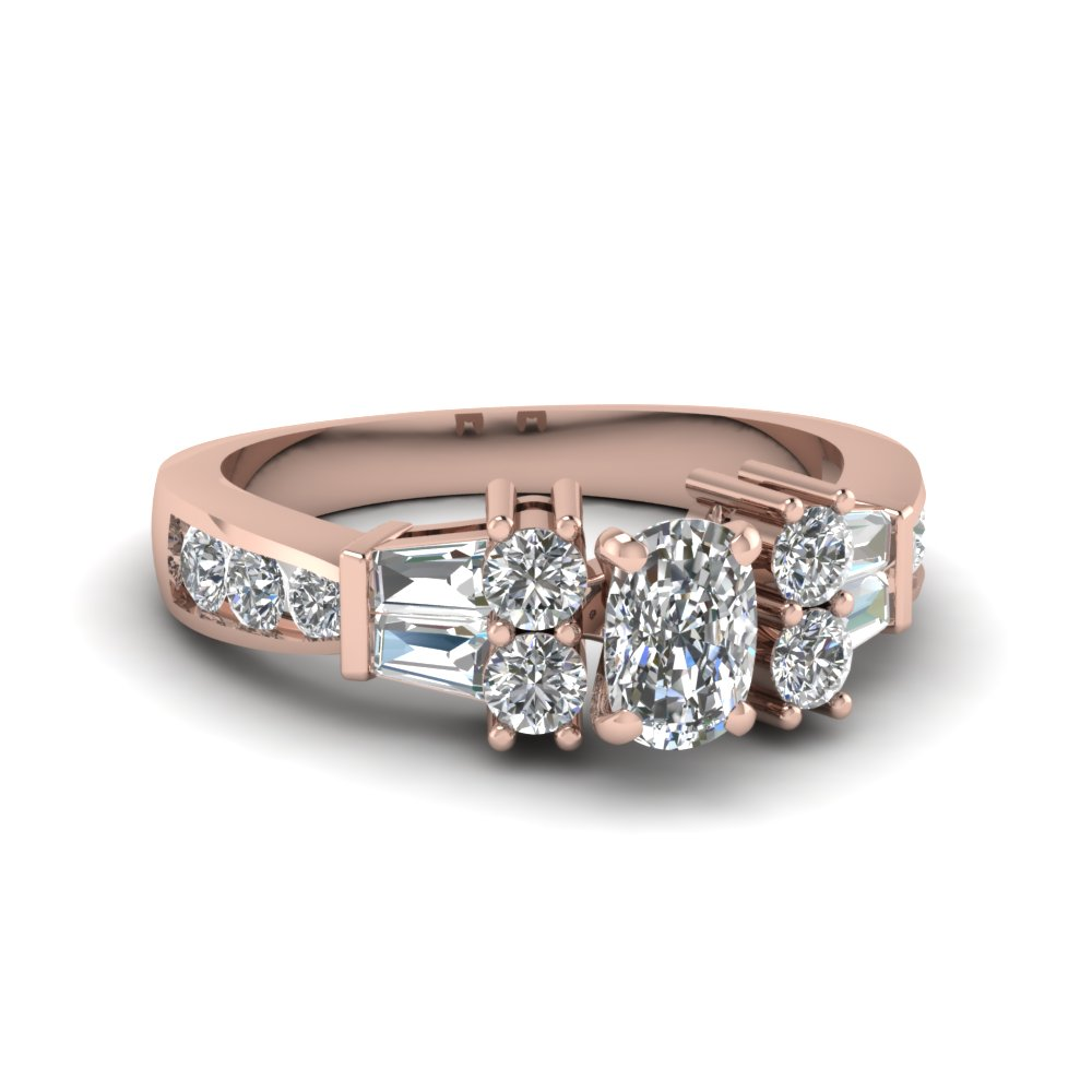 channel bar set 2 ct. cushion diamond engagement ring in 14K rose gold FDENR6171CUR NL RG