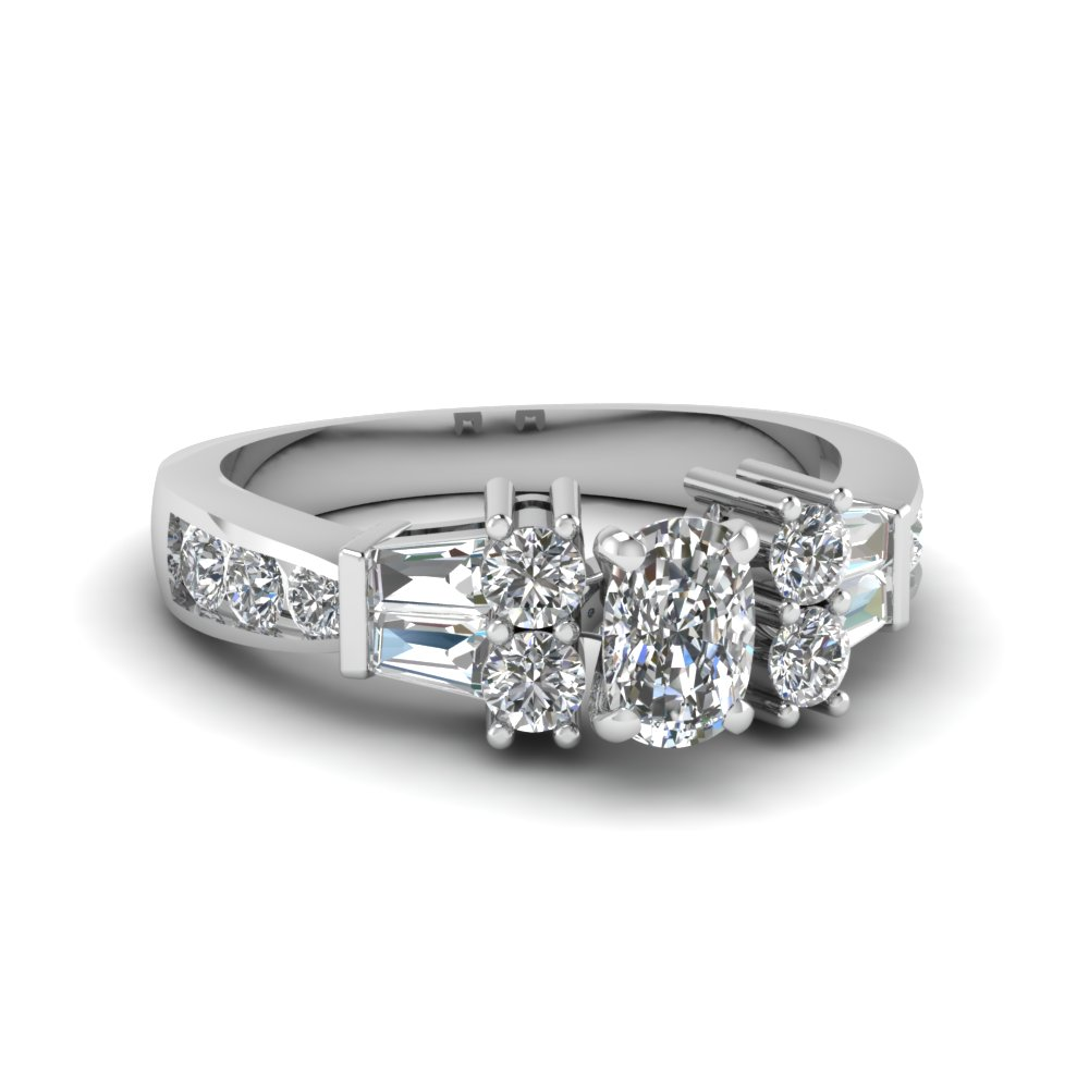 Channel Bar Set Cushion Diamond Ring