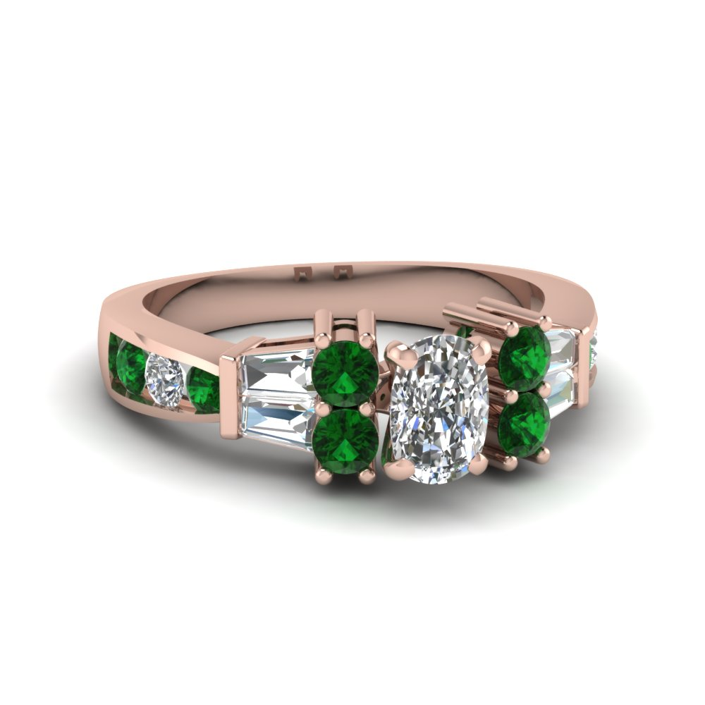 channel bar set 2 ct. cushion diamond engagement ring with emerald in 14K rose gold FDENR6171CURGEMGR NL RG