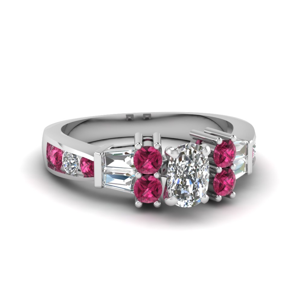 e66dc51d6069f Channel Bar Set 2 Ct. Cushion Diamond Engagement Ring With Pink Sapphire In  14K White Gold