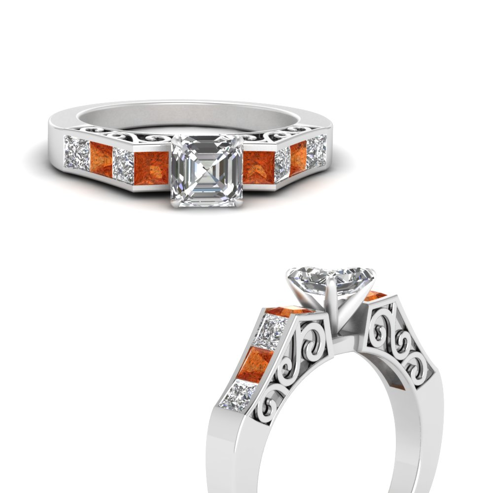 channel diamond asscher cut vintage engagement ring with orange sapphire in FDENS151ASRGSAORANGLE3 NL WG