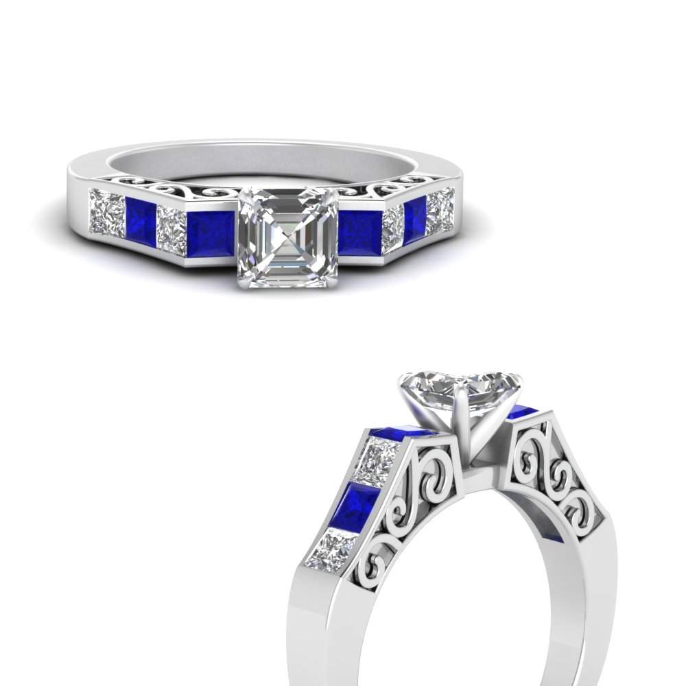 channel diamond asscher cut vintage engagement ring with sapphire in FDENS151ASRGSABLANGLE3 NL WG