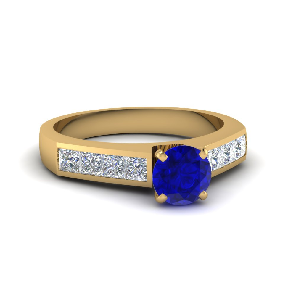 channel sapphire stone engagement ring in FDENR1022RORGBS NL YG