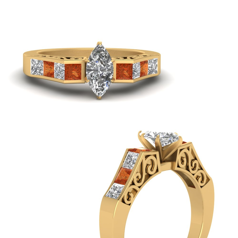 channel diamond marquise cut vintage engagement ring with orange sapphire in FDENS151MQRGSAORANGLE3 NL YG