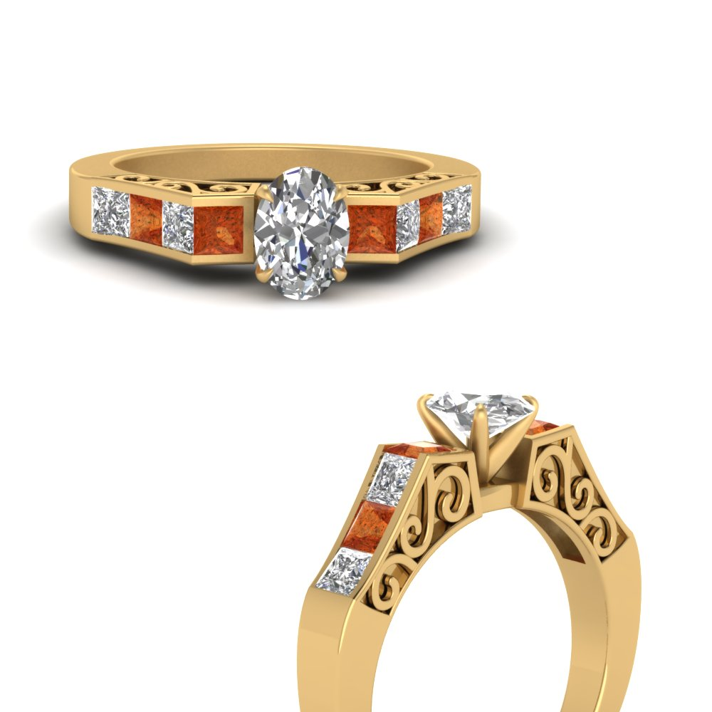 channel diamond oval shaped vintage engagement ring with orange sapphire in FDENS151OVRGSAORANGLE3 NL YG