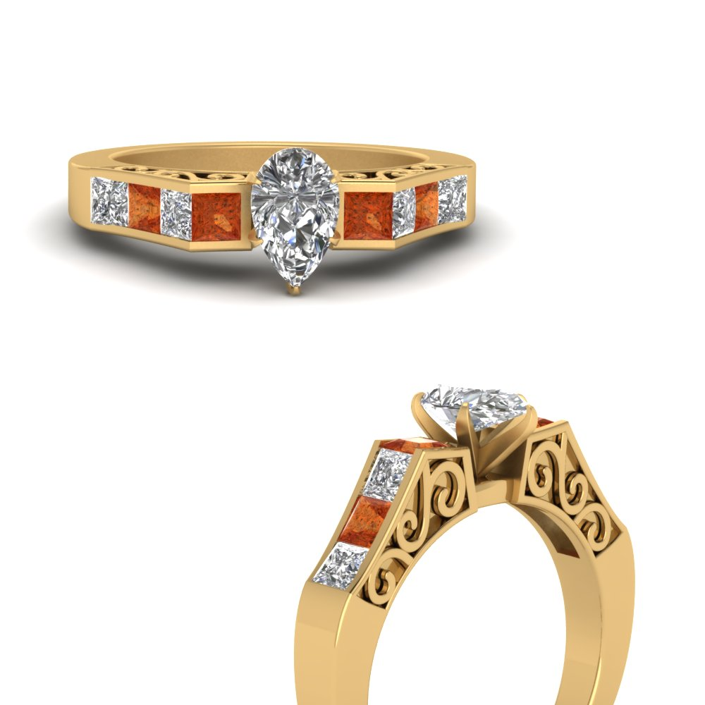 channel diamond pear shaped vintage engagement ring with orange sapphire in FDENS151PERGSAORANGLE3 NL YG