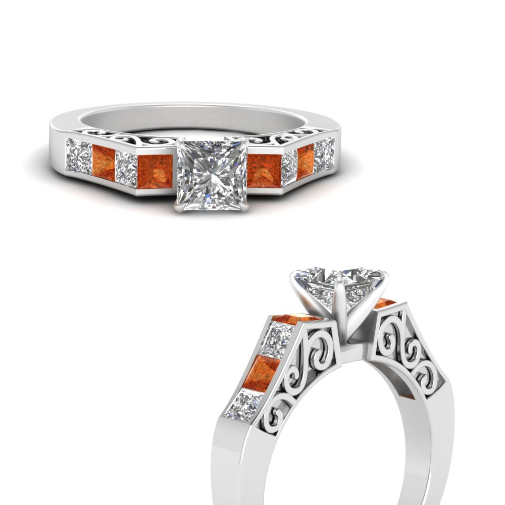 channel diamond princess cut vintage engagement ring with orange sapphire in FDENS151PRRGSAORANGLE3 NL WG