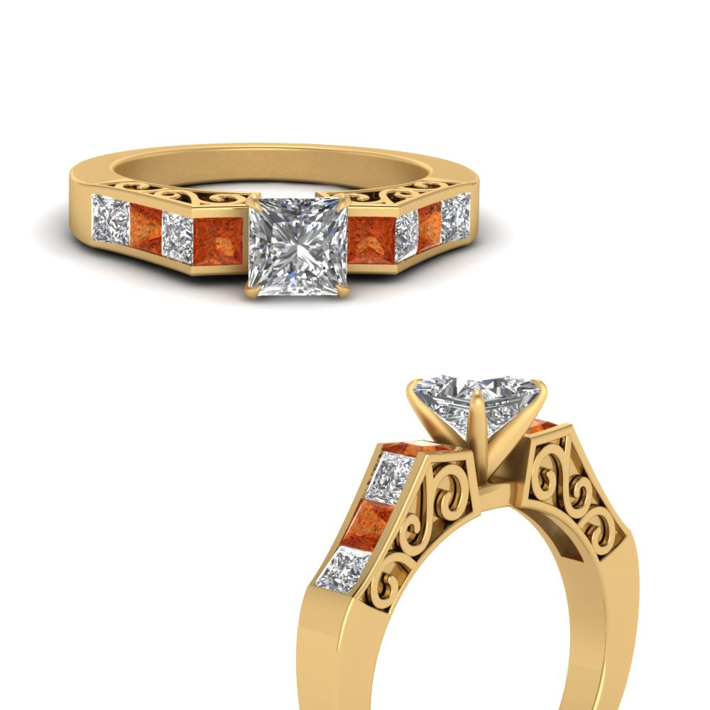 channel diamond princess cut vintage engagement ring with orange sapphire in FDENS151PRRGSAORANGLE3 NL YG