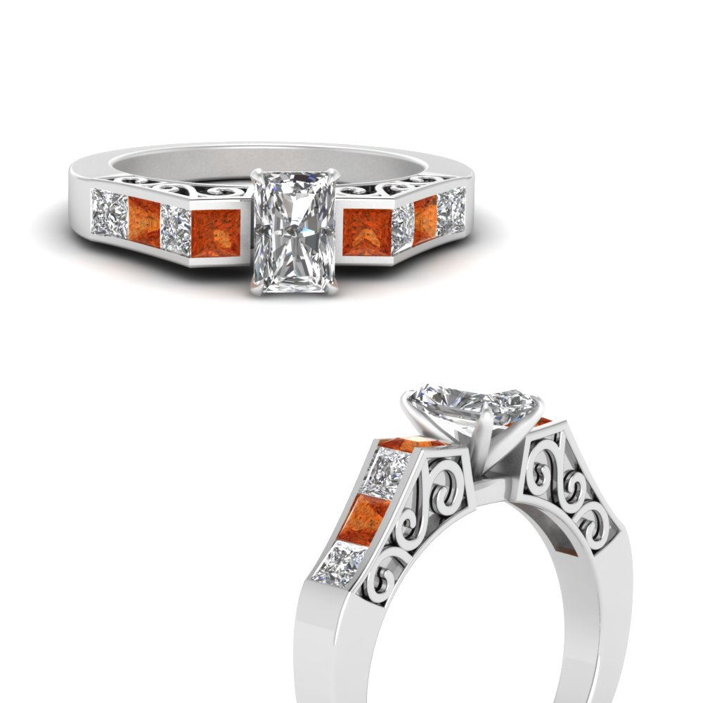 channel diamond radiant cut vintage engagement ring with orange sapphire in FDENS151RARGSAORANGLE3 NL WG