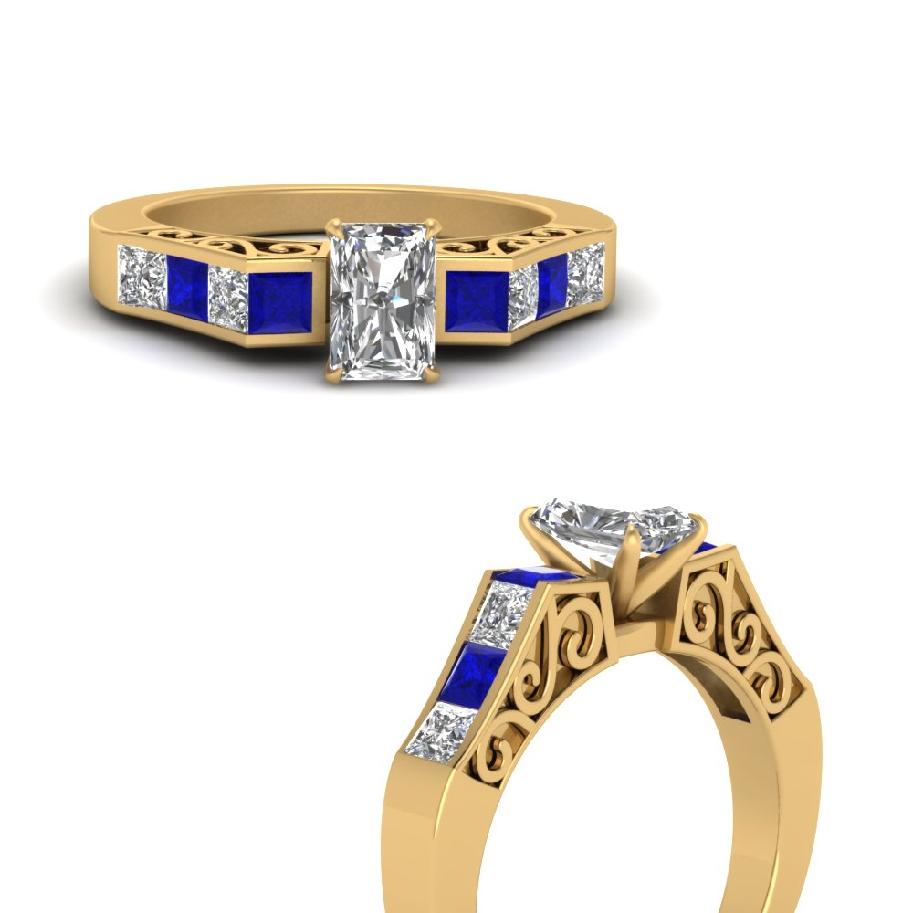 channel diamond radiant cut vintage engagement ring with sapphire in FDENS151RARGSABLANGLE3 NL YG
