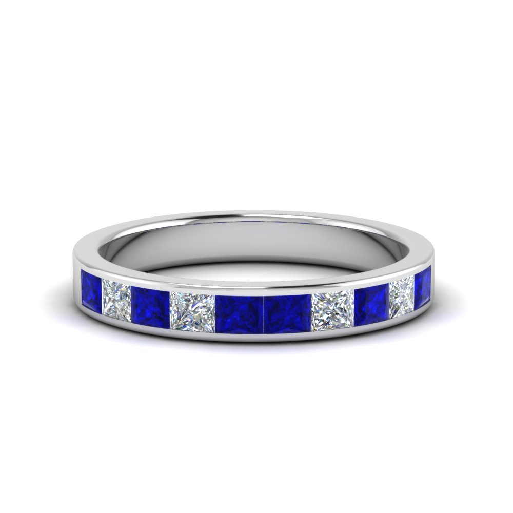 channel princess cut diamond wedding band 1 carat with blue sapphire in 14K white gold FD8382 1.0CTBGSABL NL WG