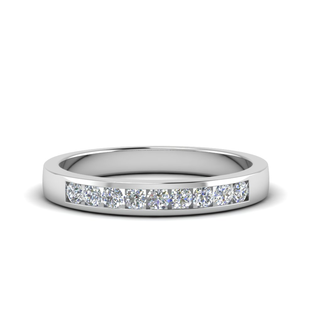 feabe01df Channel Round Diamond Wedding Band In 14K White Gold | Fascinating ...