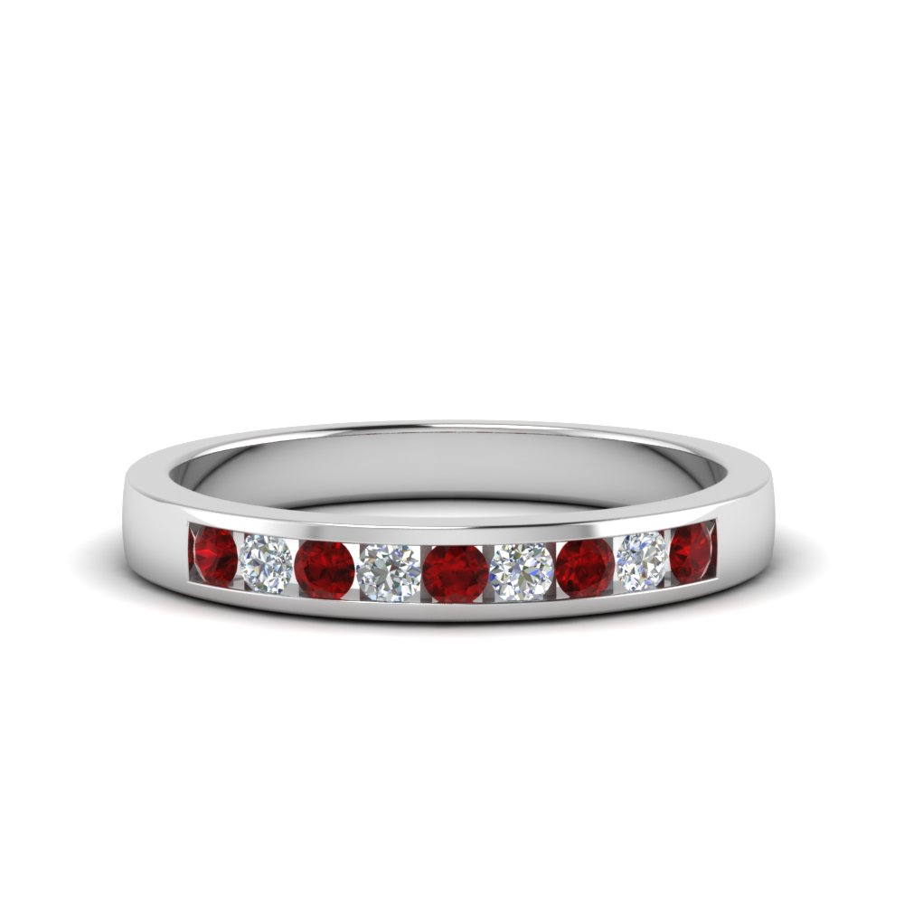 Classic Channel Set Ruby Diamond Mens Ring