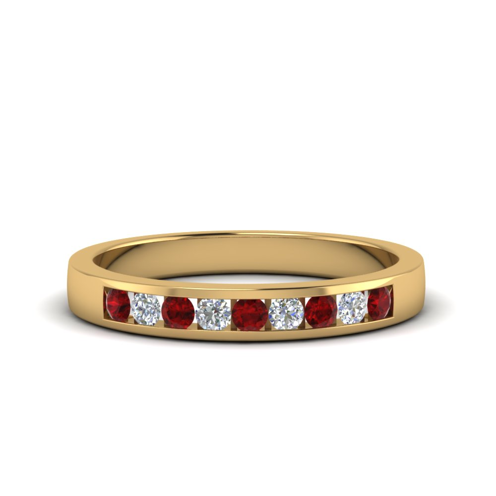 channel round diamond wedding band with ruby in FDMR1205GRUDR NL YG