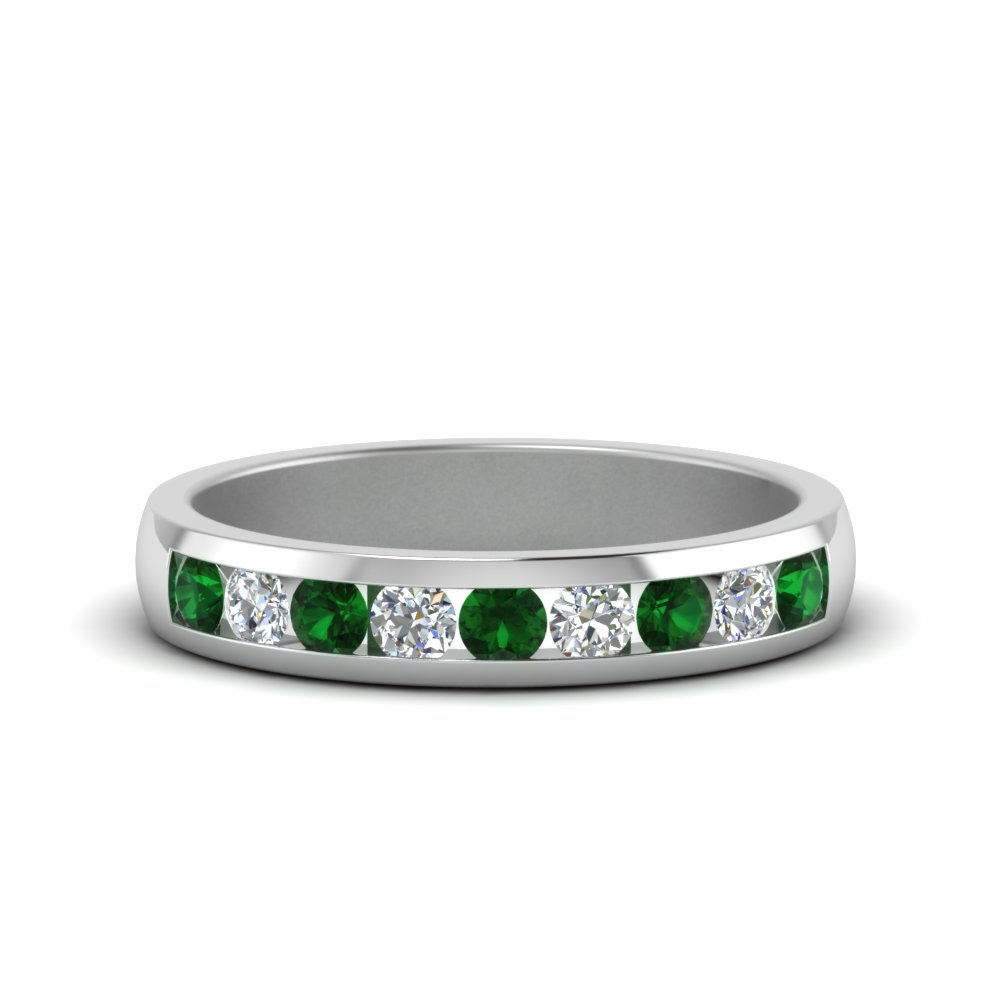 White Gold Emerald Men's Wedding Ring