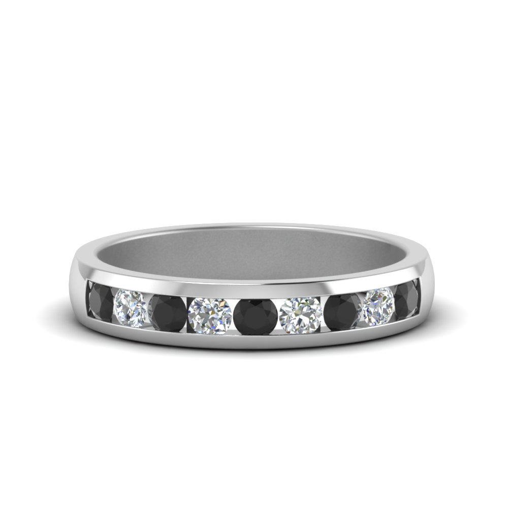 Channel Round Wedding Band With Black Diamond In 14k White Gold