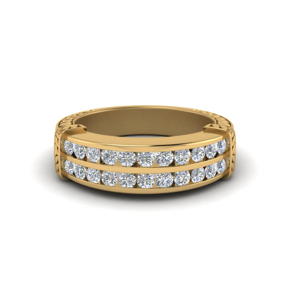 Channel Set 2 Row Diamond Band In 14K Yellow Gold