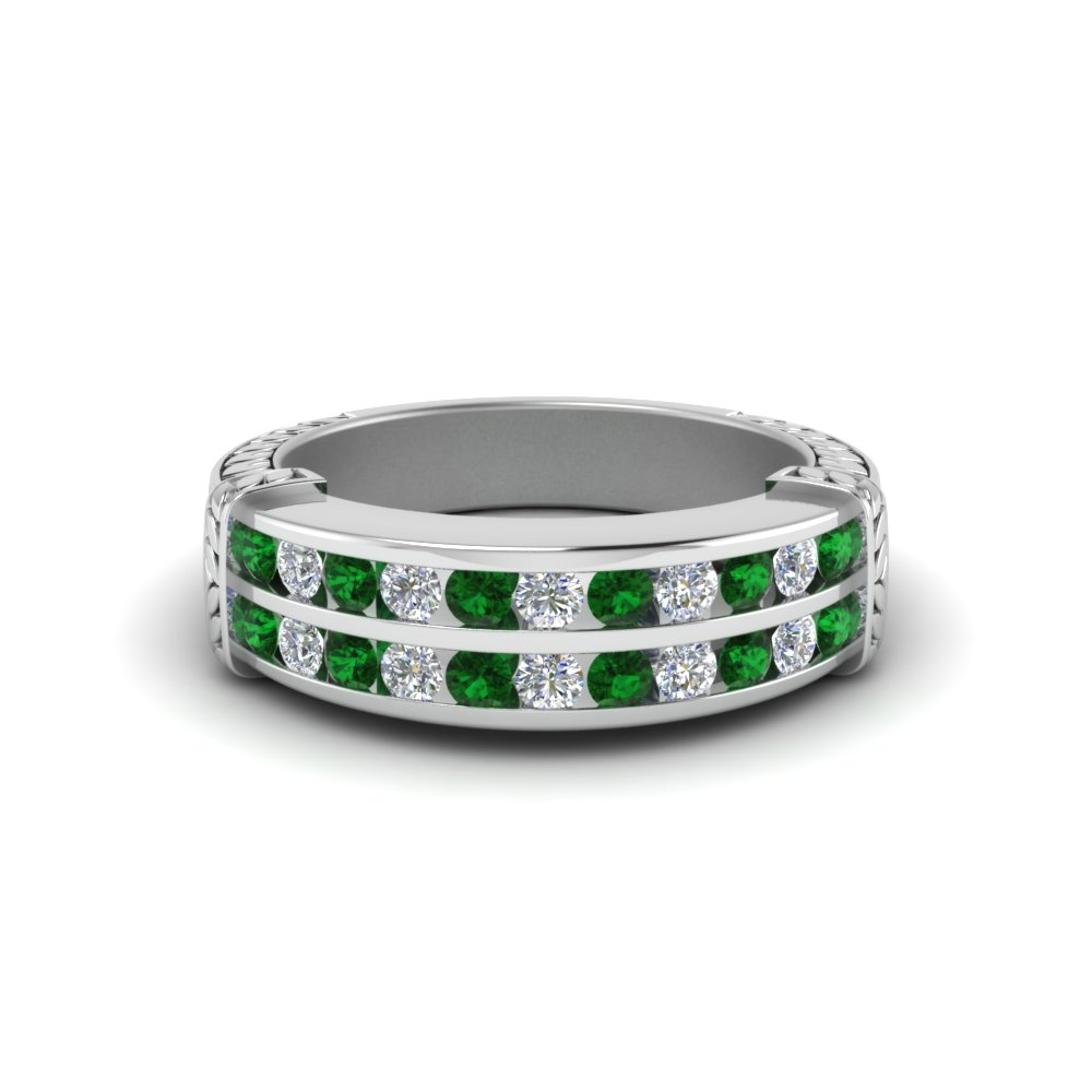 Emerald Wedding Bands For Her