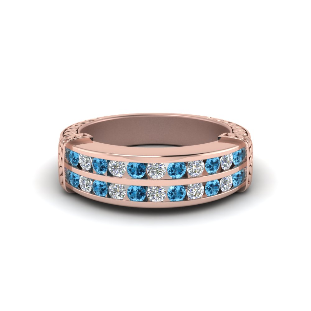 2 Row Topaz Wedding Band