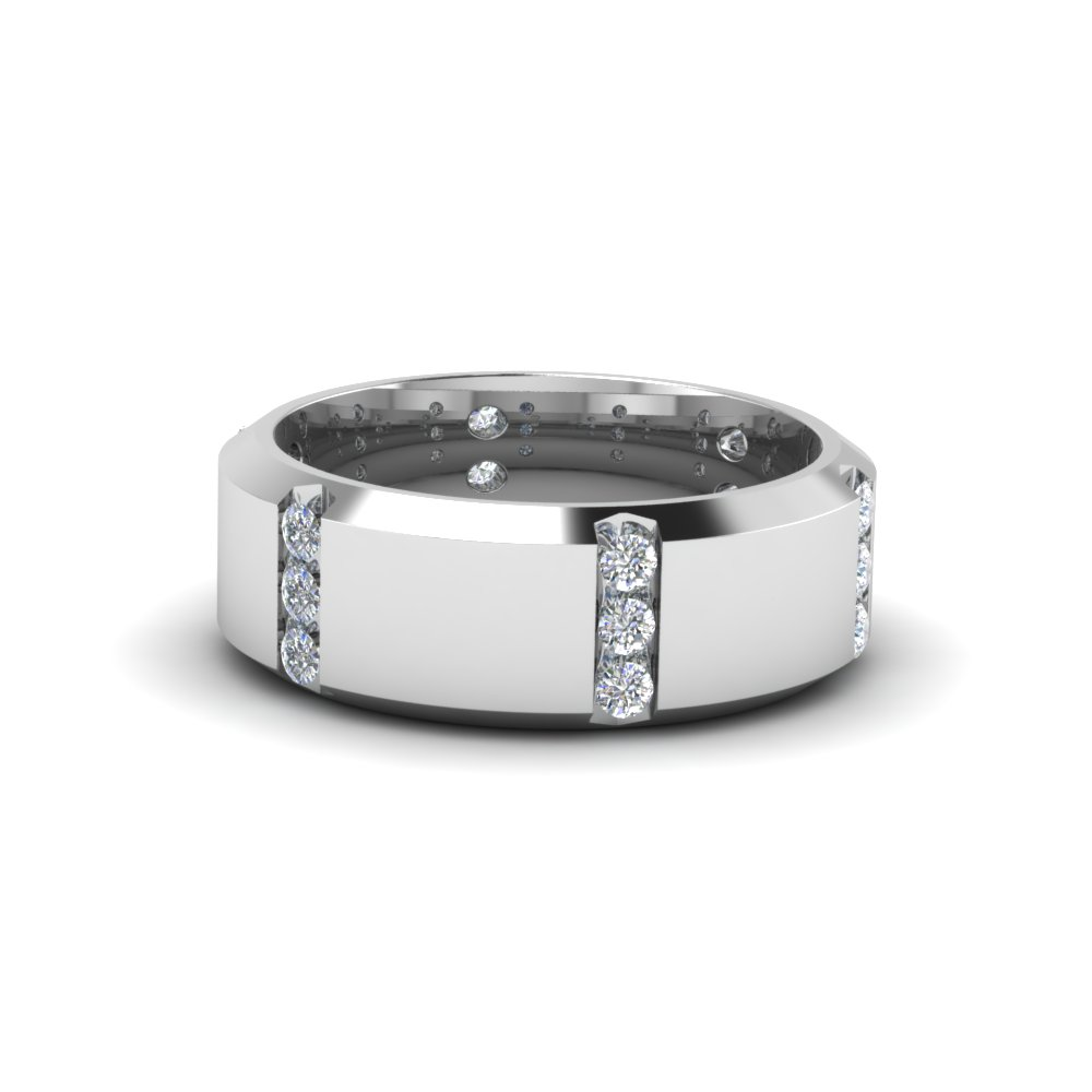 White Diamond Mens Wedding Bands