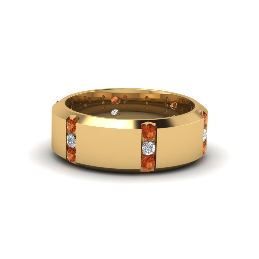 channel set 3 stone diamond mens anniversary ring with orange sapphire in 14K yellow gold FDM8113BGSAOR NL YG