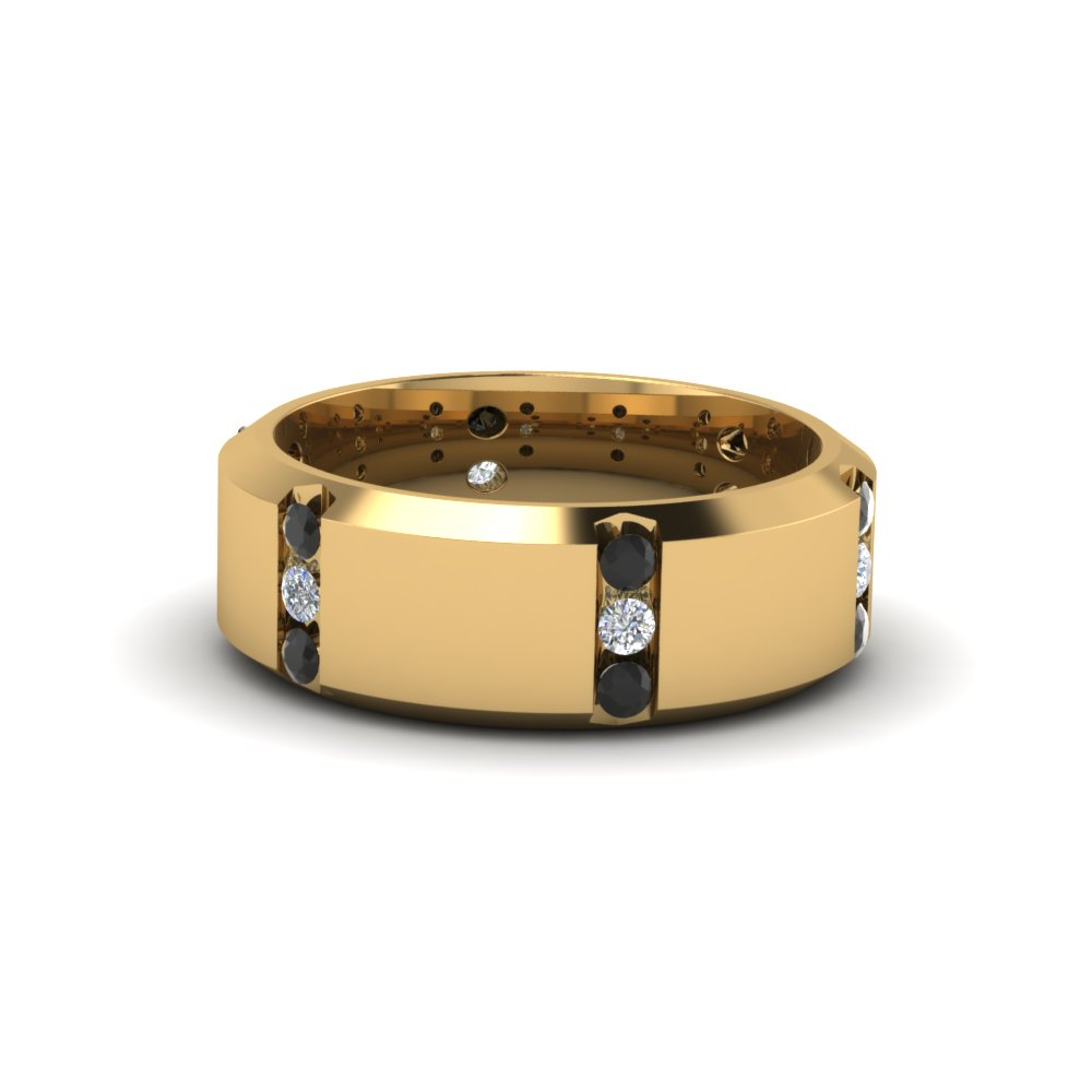 14k yellow gold black diamond men's wedding band | fascinating
