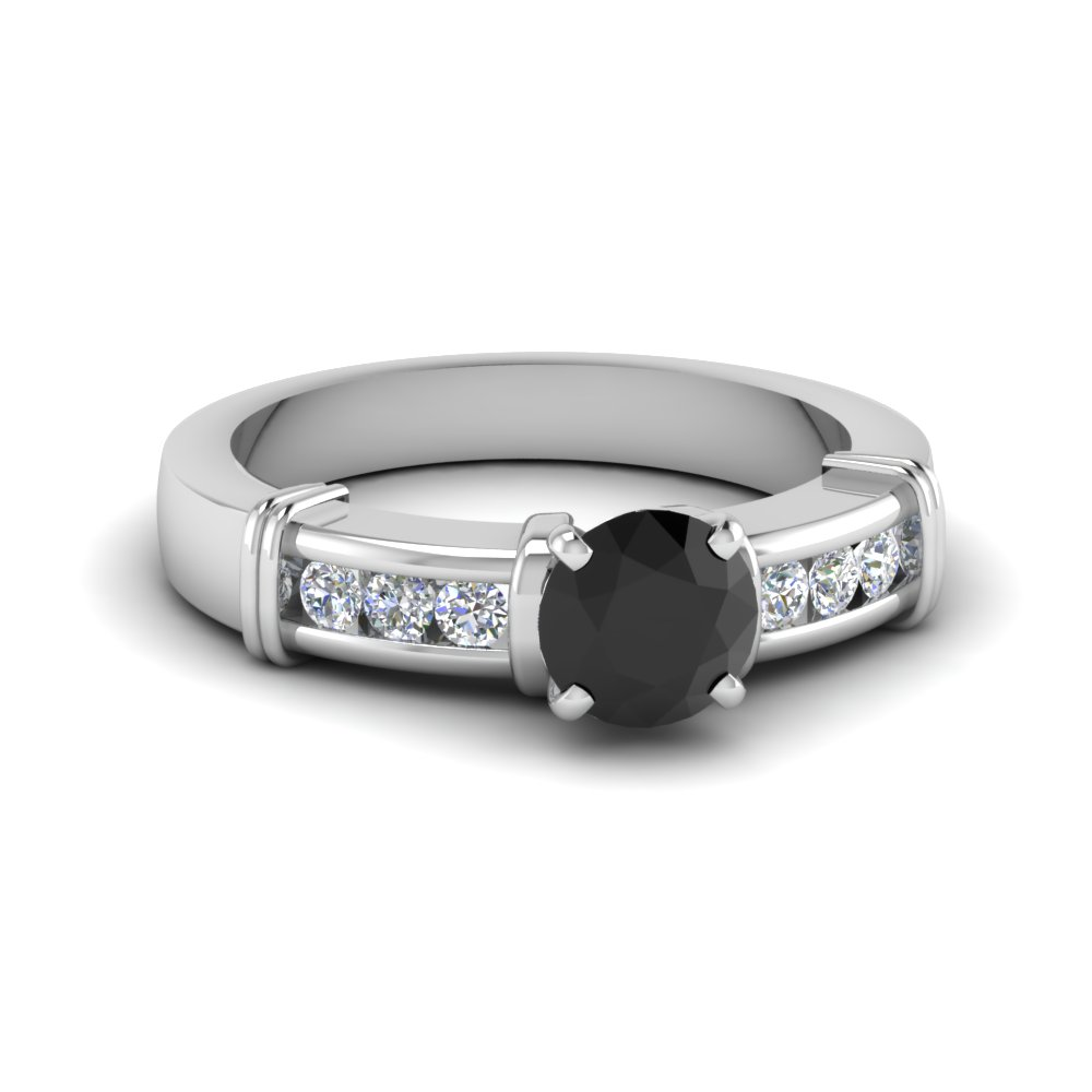 Channel Set Black Diamond Ring