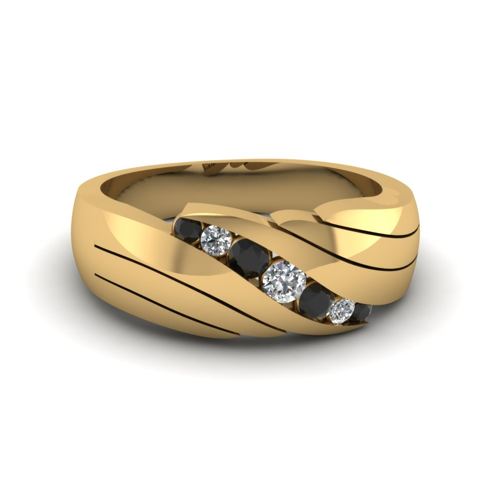 Mens Round Accented Yellow Gold Band