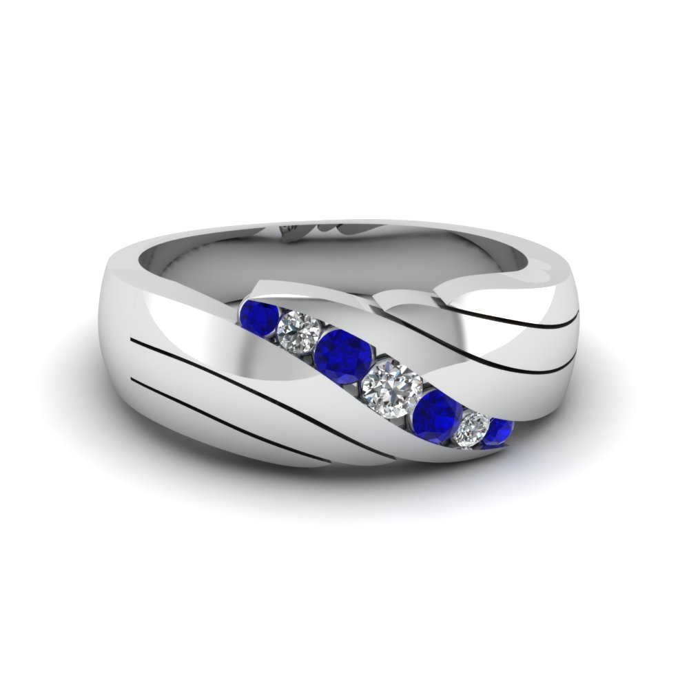 Classic Channel Set Diamond Mens Wedding Band With Sapphire In 14K