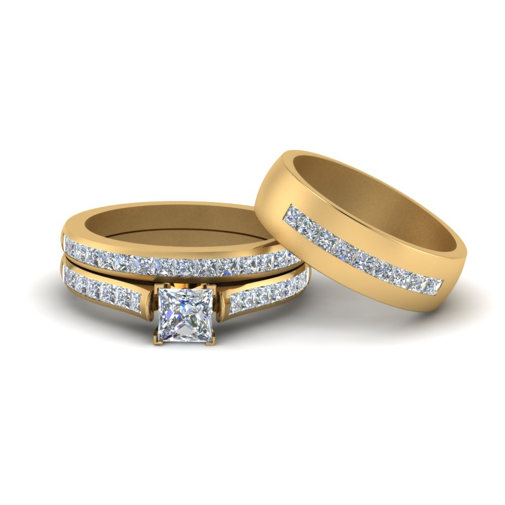 Channel Set Bridal Ring For Him And Her
